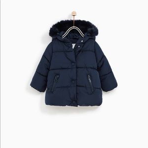 Zara Jackets & Coats - Zara Girls Padded Jacket with the faux fur hood